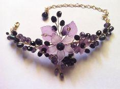 Wire wrap jewelry bracelet  artistic wire acrylic by FlowerRainbow, $46.00