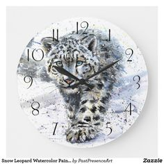 Snow Leopard Watercolor Painting Large Clock Large Clock, Snow Leopard, Wall Clocks, Dog Design, Hand Coloring, Funny Cute, Watercolor Paintings, Dog Cat, Kids Shop
