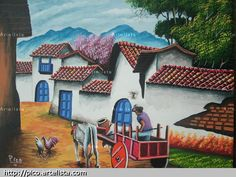 CARRETAS DE COSTA RICA. PINTURA DE PICO Stencil, South American Art, Costa Rica, Z Arts, Country Crafts, Naive Art, Indian Art, Clay Art, Landscape Art