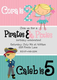 I know I said I'd never do a joint party but this is cute. Pirates & Pixies - CUTE theme!