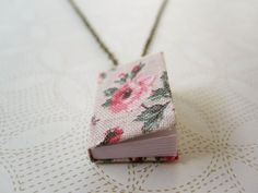 Tiny Book Necklace  Journal Necklace  Book by inthelavenderhaze, $20.00