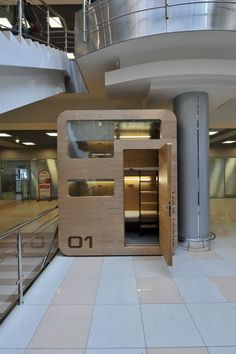 The Sleepbox. Mod Architectural Pods For Private Space in Public Places. Airport Sleeping Pods, Cubes, Sleep Box, Soho Loft, Lounge, Modern City, Play Houses, Mini Houses, Small Houses