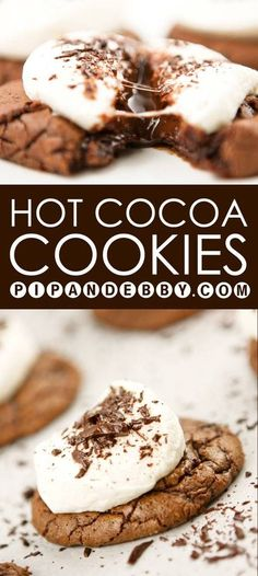 11 Hot Chocolate Desserts for the Perfect Winter Treat Hot cocoa packet recipe for the holidays. One of my favorite recipes for Christmas cookies. Cocoa Cookies, Hot Chocolate Cookies, Galletas Cookies, Chocolate Desserts, Hot Coco Cookies, Chocolate Christmas Cookies, Chocolate Roulade, Chocolate Smoothies, Chocolate Shakeology