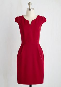 Cove Conference Dress in Ruby - Red, Solid, Work, Valentine's, Sheath, Short Sleeves, Spring, Woven, Good, Mid-length, Variation