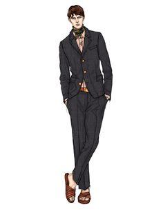 Illustration Mode, Fashion Illustration Sketches, Fashion Sketchbook, Fashion Sketches, Illustrations, Fashion Figures, Fashion Models, Men Vs Women, Art Deco Dress