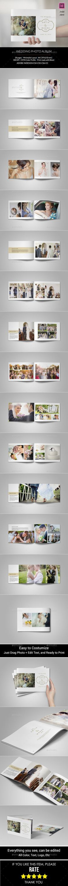 Simple Wedding Photo Album — InDesign INDD #photo album #wedding book • Available here → https://graphicriver.net/item/simple-wedding-photo-album/11070772?ref=pxcr