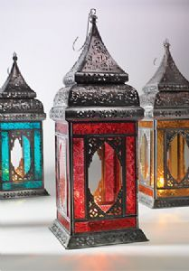Lantern~Large Moroccan Style Coloured Glass Lantern~Fair Trade by Folio Gothic Hippy LT31