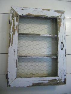 Chicken wire shelf/cabinet