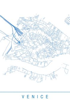 VENICE MAP Minimalist Venice Art Print by EncoreDesignStudios