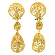Gold Ear Clips, Italian c1960 | From a unique collection of vintage dangle earrings at http://www.1stdibs.com/jewelry/earrings/dangle-earrings/
