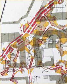 Atlas souterrain de la Ville de Paris, d'Eugène de Fourcy, exécuté en 1859, montrant le cours de l'aqueduc d'Arcueil, l'ancien cours (en pointillés) et l'effondrement ayant nécessité le déplacement de son cours. L'emplacement du château se trouve au niveau de la flèche noire / www.troglos.com