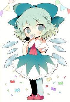 Touhou, Cirno, Lollipop, Pink Footwear, Outline