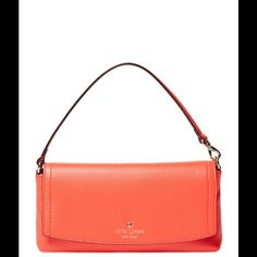 """Kate Spade Leather Cobble Hill Niccola in Geranium PERFECT FALL and WINTER COLOR.  Small shoulder bag / Leather / Single flat top handle / Fabric lined interior with three card slots / Flap top closure /  Body length 9½"""", height 4¾"""", width 1¾"""", drop handle 5"""" / 100% polyester lining / Gorgeous Orange (Geranium) Color /  TRADES. Great Gift Idea  kate spade Bags"""