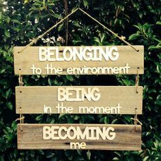 Being belonging becoming sign that is made from wood and reflects what early learning is all about for the children. Childcare Environments, Childcare Rooms, Childcare Activities, Learning Environments, Childcare Quotes, Work Activities, Reggio Emilia Classroom, Classroom Displays, Reggio Emilia Preschool