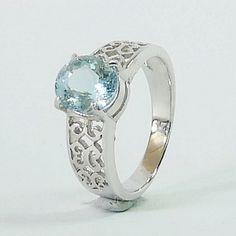 Genuine Brazilian Aquamarine in Rodium over 925 Silver Ring 925 Silver, Silver Rings, Gemstone Rings, Etsy Seller, Fine Jewelry, Engagement Rings, Gemstones, Unique, Accessories