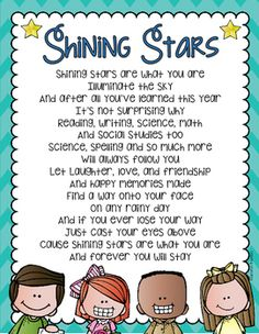 Use this original poem as a wonderful keepsake for your students at the end of the year!