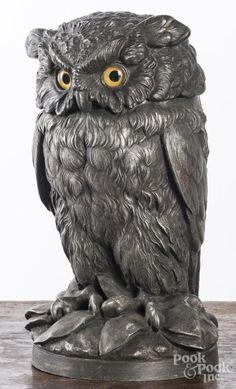 White metal owl tobacco jar