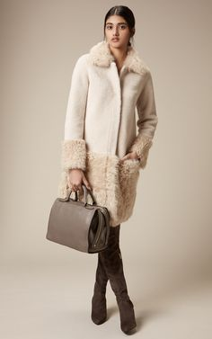 Karen Millen autumn/winter 2015_Shearling Coat, Suede Over the Knee Boot & Large Leather Box Bag
