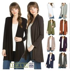 USA Women Solid Long Sleeve Open Front Draped Cardigan Mid Length Casual S~XL #YFH #Cardigan #Casual