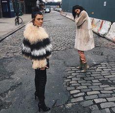 Kourtney Kardashian and Kylie Jenner take NY in stylish furry coats