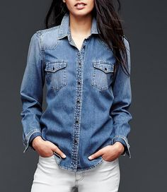 Under $100 Denim picks from Andrea Linett.   gap work shirt Girls of a Certain Age