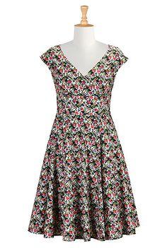 I <3 this Rose print empire waist dress from eShakti