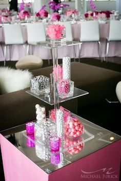 Candy centerpiece idea from a modern pink Bat Mitzvah {Photo by Michael Jurick Photography} cute baby shower ideas. Bat Mitzvah Decorations, Bat Mitzvah Centerpieces, Candy Centerpieces, Centrepieces, Bat Mitzvah Party, Bar Mitzvah, Sweet 16, Candy Table, Pink Parties