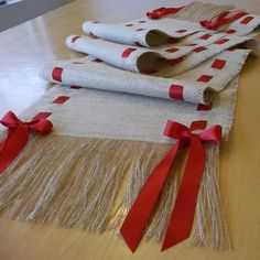Premium Natural Burlap Table Runner with Satin Ribbon and Fringe 14 x 108 Burlap Runner with Red Ribbon by HouseofBurlap on Etsy Burlap Projects, Burlap Crafts, Diy And Crafts, Arts And Crafts, Merry Christmas To You, Christmas Crafts, Christmas Decorations, Holiday Decor, Ribbon Colors