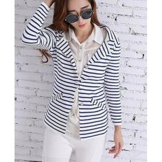 c80f0d9727a Wholesale Casual Turn-Down Collar Striped Knitted Long Sleeve Cardigan For  Women (BLUE AND