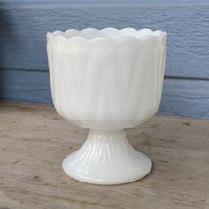 Very Pretty Milk Glass Planter Compote Vase. $12.50, via Etsy.