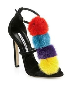 Whimsical mink dyed pom-pom pump by Brian Atwood is perfect for a case of happy feet.