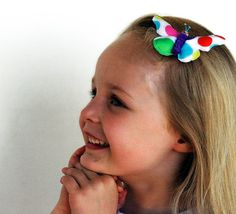 Happy Butterfly Barette hairclip / ornament / by MissAdorable, $9.00
