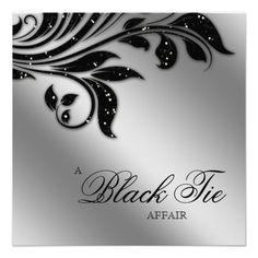 Black Tie Christmas Party Sparkle Silver Custom Invite