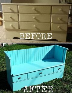 How to make a beautiful vintage bench from an ugly old dresser 3 DIY dresser bench Furniture Projects, Furniture Making, Furniture Makeover, Home Projects, Diy Furniture, Office Furniture, Street Furniture, Transforming Furniture, Refinished Furniture