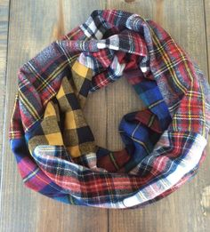 Mixed Flannel Infinity Scarf  by KutKloth on Etsy