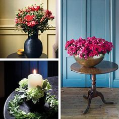 Using an inspired mix of winter foliage, fresh and faux flowers and unusual containers, these creative designs will lend an uplifting natural beauty to the festive home. Homes & Gardens. http://www.hglivingbeautifully.com/2015/12/15/in-season-floral-decorations/