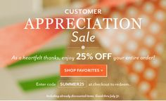Customer Appreciation Sale - off your order thru July (And be sure to check out our deep discounts in our Sale and Clearance area online! Email Design Inspiration, Email Marketing Design, Christian Cards, Money Saving Mom, Promotional Design, Customer Appreciation, Inspirational Gifts, Giveaway