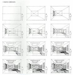 furniture Sketch Step By Step – How to Draw a Bedroom from the Book, Sketching Masterclass… – Furniture Decoration Perspective Room, Perspective Drawing Lessons, Perspective Sketch, How To Draw Perspective, 3 Point Perspective, Drawing Interior, Interior Design Sketches, Sketch Design, Design Design