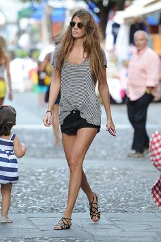 Bianca Brandolini D'Adda was the picture of Summer in cutoffs, strappy (walkable) flats and a striped tee w...