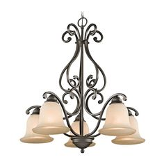 Kichler Chandelier with White Scavo Glass in Olde Bronze Finish | 43225OZ | Destination Lighting