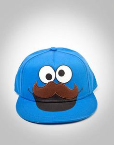 cookie monster hat with a mustache