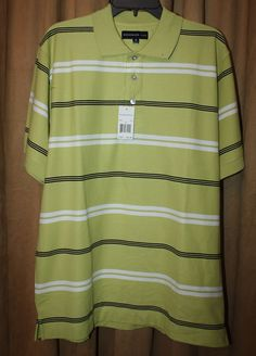 Men's Size M-Medium Green Striped Knit Polo/Golf Shirt Short Sleeve NEW