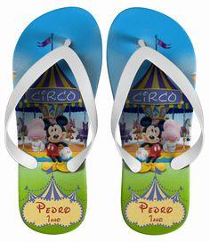 Chinelo Infantil  Mickey Personalizado, Tema Circo