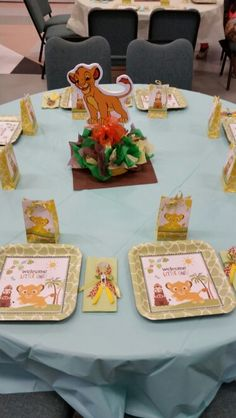Centerpiece at lion king baby shower