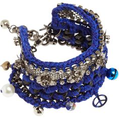 Venessa Arizaga Blue Las Flores Bracelet (1.263.485 IDR) ❤ liked on Polyvore featuring jewelry, bracelets, accessories, pulseiras, blue, lobster claw clasp charms, charm bangles, lobster claw charms, blue charm and mini charms