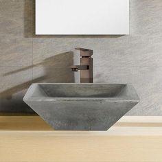 Inola River Stone Vessel Sink – Magnus Home Products Concrete Bathroom, Vessel Sink Bathroom, Pedestal Sink, Vanity Sink, Bathroom Mirrors, Remodel Bathroom, Bathroom Cabinets, Free Standing Sink, Barrel Sink