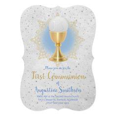 first communion faux gold and faux glitter decor invitation   Zazzle.com