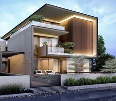 Design cannot be copied by the authority of firm belongs to rajcreationz Modern Exterior House Designs, Modern House Facades, Modern Villa Design, Bungalow Exterior, Dream House Exterior, Modern Architecture House, Architecture Design, Exterior Design, 3 Storey House Design