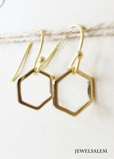 Hexagon Earrings Gold Small Honeycomb Sterling by Jewelsalem