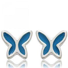 Ladies silver Papillons de nuit blue earrings - Bijoux Paris Lady, Trendy Fashion, Earrings, Accessories, Jewelry, Style, Moth, Papillons, Ear Rings